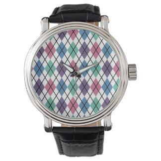 Spring Argyle Pattern Wristwatch