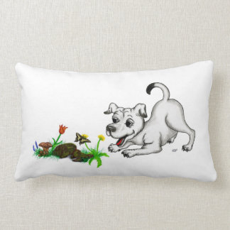 Spring-awake, puppy with butterfly lumbar pillow