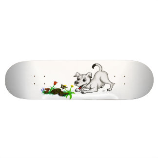 Spring-awake, puppy with butterfly skate board deck