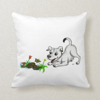 Spring-awake, puppy with butterfly throw pillow