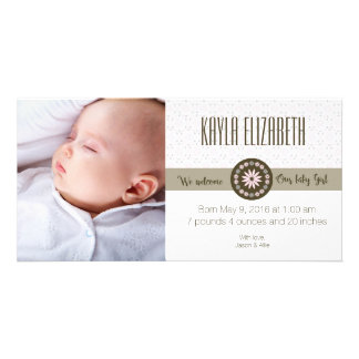 Spring baby girl birth announcement card
