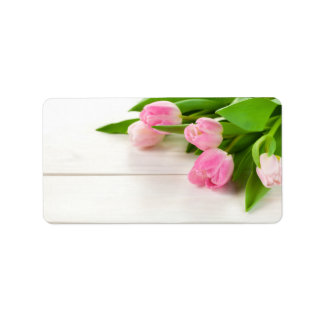 Spring Background with Tulip Flowers Label