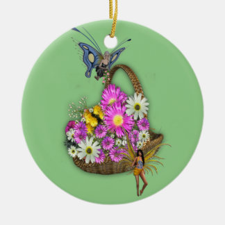 Spring basket gatherers round ceramic decoration