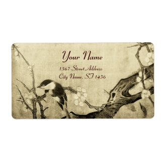 SPRING BIRD AND FLOWER TREE Sepia Brown Shipping Label