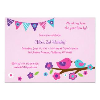 Spring Bird Birthday Invitations