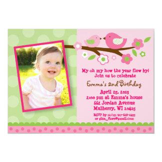 "Spring Bird Flower Photo Birthday Invitations 5"" X 7"" Invitation Card"