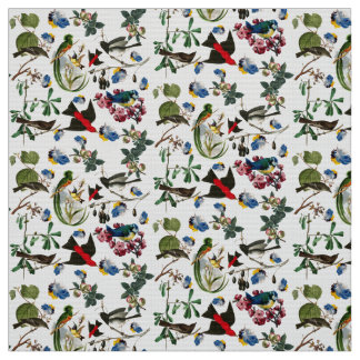 SPRING BIRDS,COLORFUL FEATHERS AND FRUITS Floral Fabric