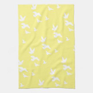 Spring Birds in Flight | Custom Background Color Kitchen Towels