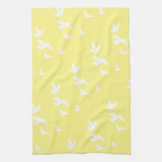 Spring Birds in Flight | Custom Background Color Tea Towel