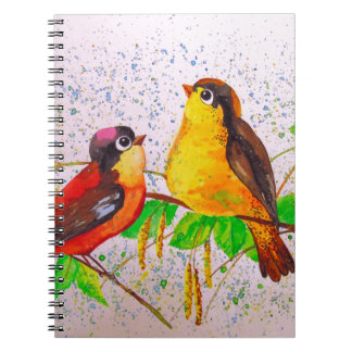 Spring birds spiral notebook