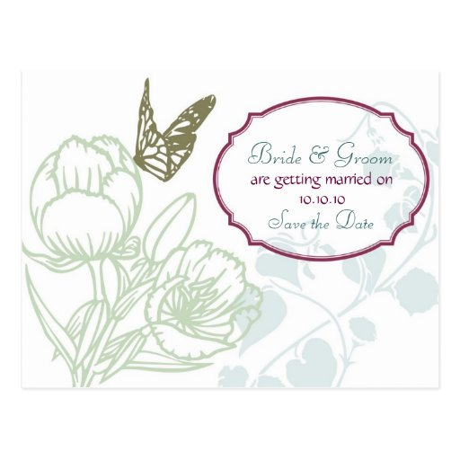 Spring Bliss (Peony) Wedding Save the Date Post Cards