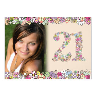 Spring Blooms Ladies 21st Birthday Photo Invite