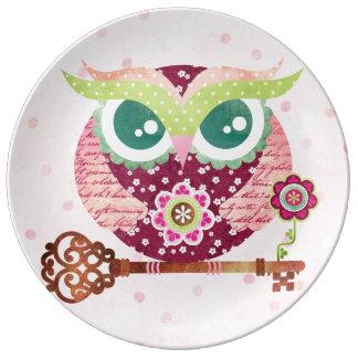 Spring Blossom Owl Porcelain Plate