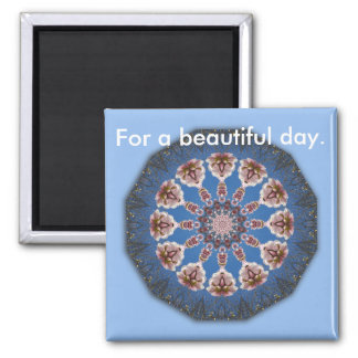 Spring blossoms, mandala-style square magnet