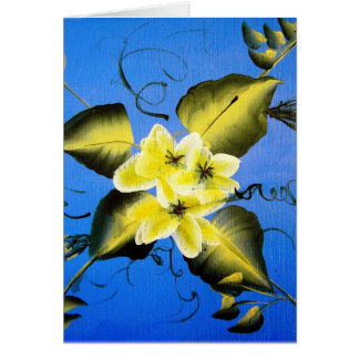 SPRING BLOSSOMS ON BLUE BACKGROUND GREETING CARD
