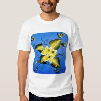 SPRING BLOSSOMS ON BLUE BACKGROUND TEE SHIRT