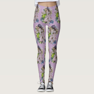 Spring blossoms on feminine lavender leggings