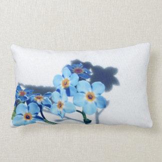 Spring blue flowers throw cushion