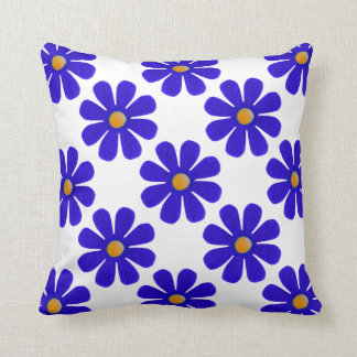 Spring blue flowers throw pillow