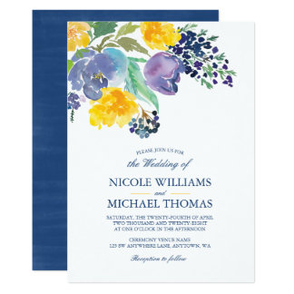 Spring Blue Yellow Watercolor Flowers Wedding Card