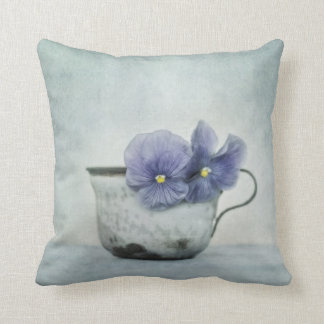 spring blues with a hint of yellow (Pansy Pillow) Cushion
