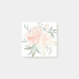 Spring Blush and Peach Watercolor Floral Post-it Notes
