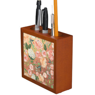 Spring Blush and Peach Watercolor Florals Home Desk Organiser