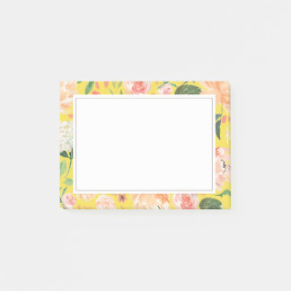 Spring Blush and Peach Watercolor Florals Yellow Post-it Notes