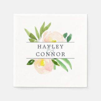 Spring Blush | Floral Personalized Wedding Disposable Napkin