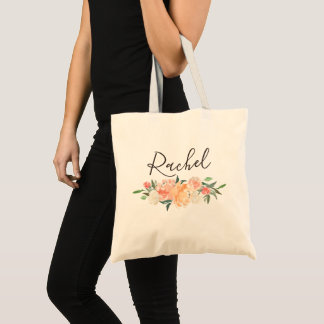 Spring Blush Peach Sage Watercolor Floral Garland Tote Bag