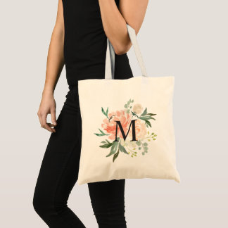 Spring Blush Peach Sage Watercolor Floral Monogram Tote Bag