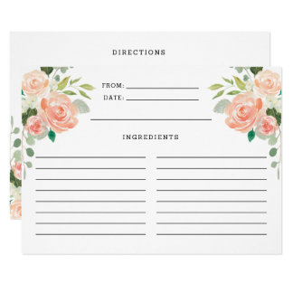 Spring Blush Peach Sage Watercolor Floral Recipe Card