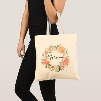 Spring Blush Peach Sage Watercolor Floral Wreath Tote Bag