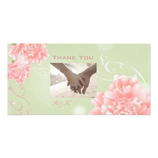 Spring Botanical mint pink peony wedding Photo Greeting Card