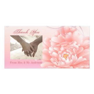 Spring Botanical  pink peony wedding Picture Card