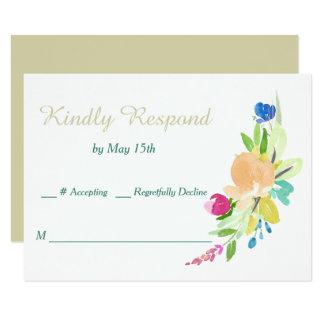 Spring Bouquet Gold Wedding Card