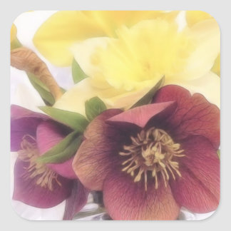 Spring Bouquet - Hellebores and Daffodils Square Sticker