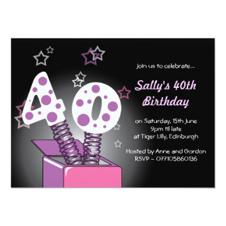 Spring Box 40th Birthday Party - pink & purple Card