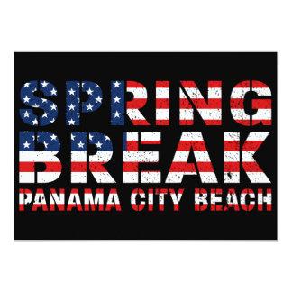 Spring Break Panama City Beach US Flag Card