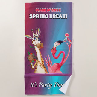 Spring Break Party Time Party Animals Beach Towel