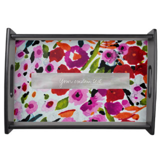 Spring Bright Flowers Floral Elegant Watercolor Serving Tray