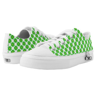 Spring bright green flowers printed shoes