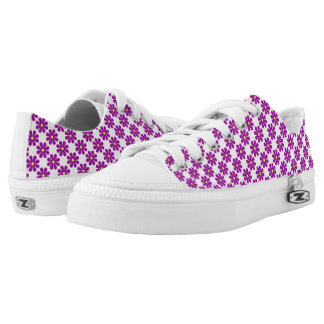 Spring bright purple flowers printed shoes
