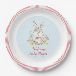 Spring Bunny Baby Shower Paper Plate