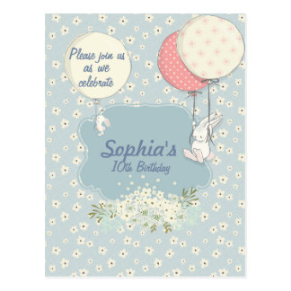 Spring Bunny Birthday Invitation Postcard