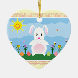 Spring Bunny Double Sided Heart Ceramic Ornament