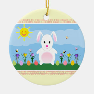 Spring Bunny Double Sided Round Ceramic Ornament