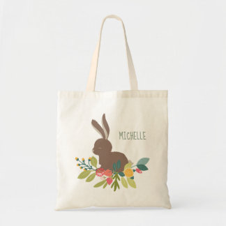 Spring Bunny Easter with Name Tote Bag