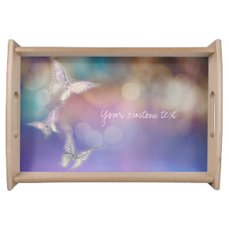 Spring Butterflies Purple Elegant Chic Custom Serving Tray