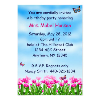 Spring Butterfly Garden Party Invitation